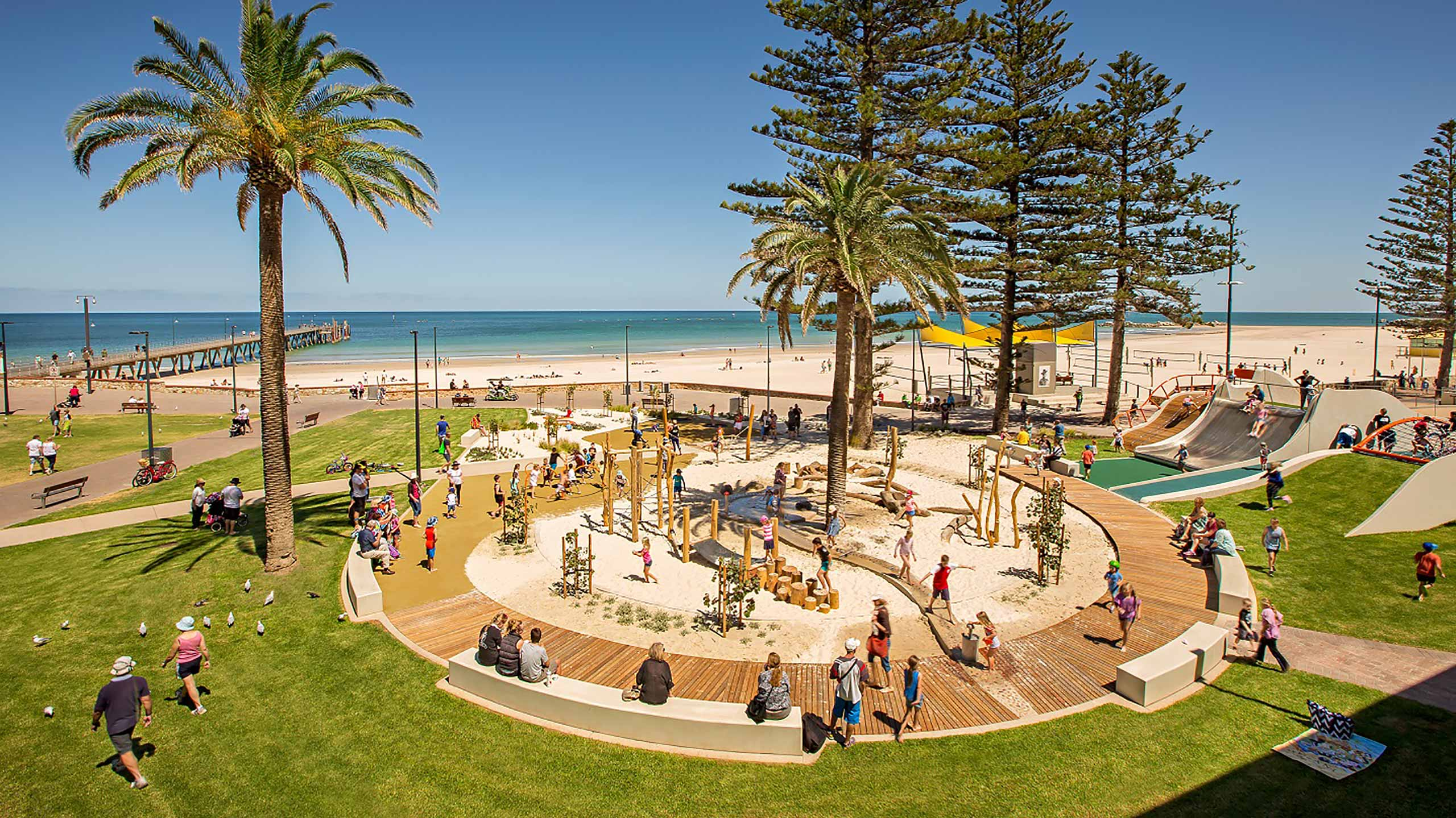 glenelg foreshore playspace along adelaide 39 s beaches glenelg. Black Bedroom Furniture Sets. Home Design Ideas